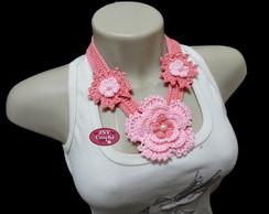 Colar de Croch� Flor Ana tons de rosa