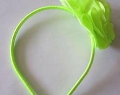 Tiara Flor Cetim Verde-Lim�o Vitrilhos