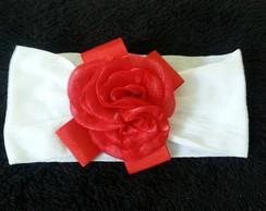 Faixa de Cabelo Flor Vermelha