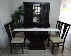 Caminho de mesa em tecido com barrado