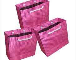 Sacola pink bolinha preta 15x15x6,5 cm