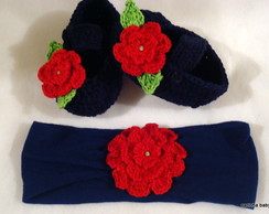 conjunto sapatilha de croche com tiara