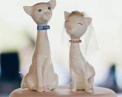 Topo de Bolo Casamento - Gatos