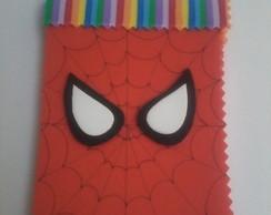 Kit bloquinho e ponteira do Homem aranha