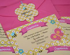 Convite Jardim Rosa (12X7cm)