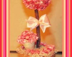 Topiara de Flor Sempre Viva Rosa Mini