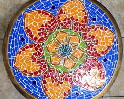 Mesa ferro de canto mandala em mosaico