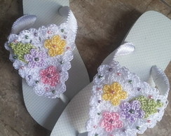 chinelo bordados com croch�