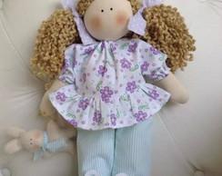 Boneca de Pijama com Ursinho e Pantufas