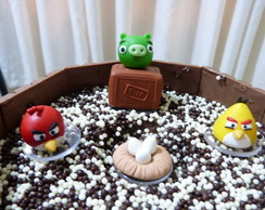 Kit topo de bolo Angry Birds em biscuit