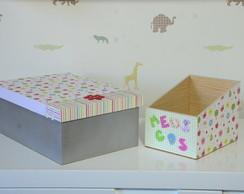 Caixa Porta Objetos e Porta CDs flores