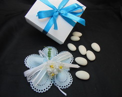 Porta Am�ndoa Flor Azul