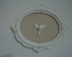 Moldura Oval c/ linho e Esp�rito santo