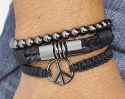 Kit de pulseiras simbolo paz grafite