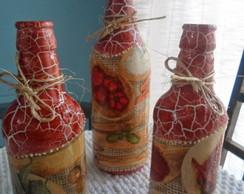 Garrafas em Craquel� decorada