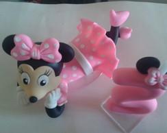 topo de bolo minie rosa em biscuit