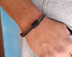 Pulseira de couro marrom e preto