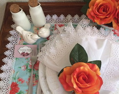 Porta guardanapo de rosa laranja