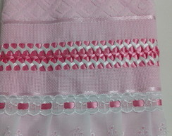 toalha Rosto bordada em fita de cetim