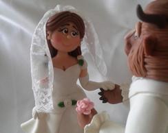 Topo de bolo personalizado a Bela e Fera