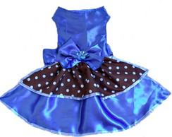 Vestido azul e marrom bolinhas
