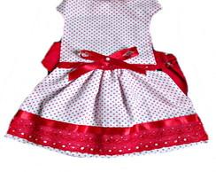 Vestido branco com bolinhas vermelhas