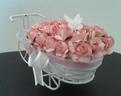 Mini Bicicleta com flores rosa