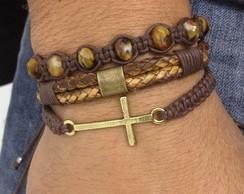 Kit de pulseiras crucifixo e couro