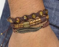 Kit de pulseiras pena e couro