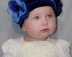 Boina Infantil Princess azul marinho