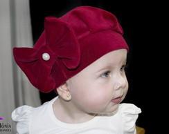 Boina Infantil Vermelha em plush