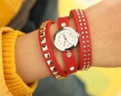 Rel�gio Feminino Bracelete C/ Rebites