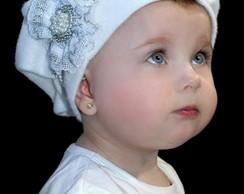 Boina Infantil Branca com la�o em renda
