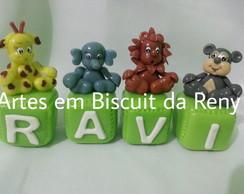 Cubos decorados Safari em Biscuit 5x5