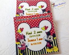 R�tulo adesivo Minnie e Mickey