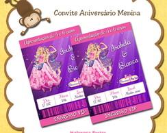 Convite Barbie Princesa e Popstar