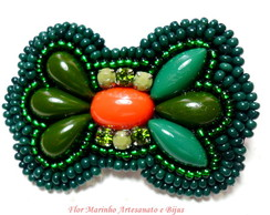 Broche Bordado La�o *Verde*