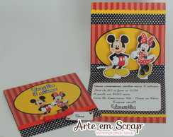 Convite Minnie e Mickey Poup-up