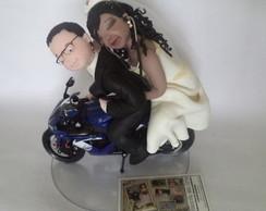 Noivinhos personalizados com moto