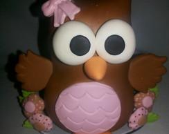 Topo de bolo corujinha