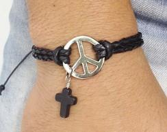Pulseira s�mbolo paz pingente crucifixo