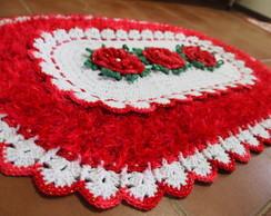 Tapete Oval Branco e Vermelho