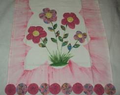 Pano de prato com flores de tecido