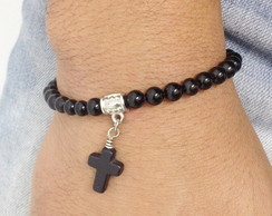 Pulseira �nix com crucifixo
