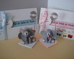 Elefante porta recado em biscuit+convite