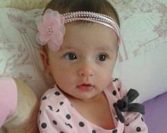Faixa JASMINE rosa beb� & flor organza