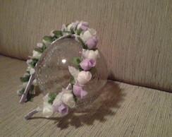 tiara com mini flor