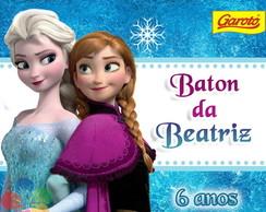 R�tulo Baton Personalizado - Frozen