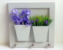 Quadro Porta Chaves Floral Lil�s
