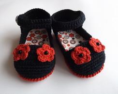 sandalia preta com vermelho